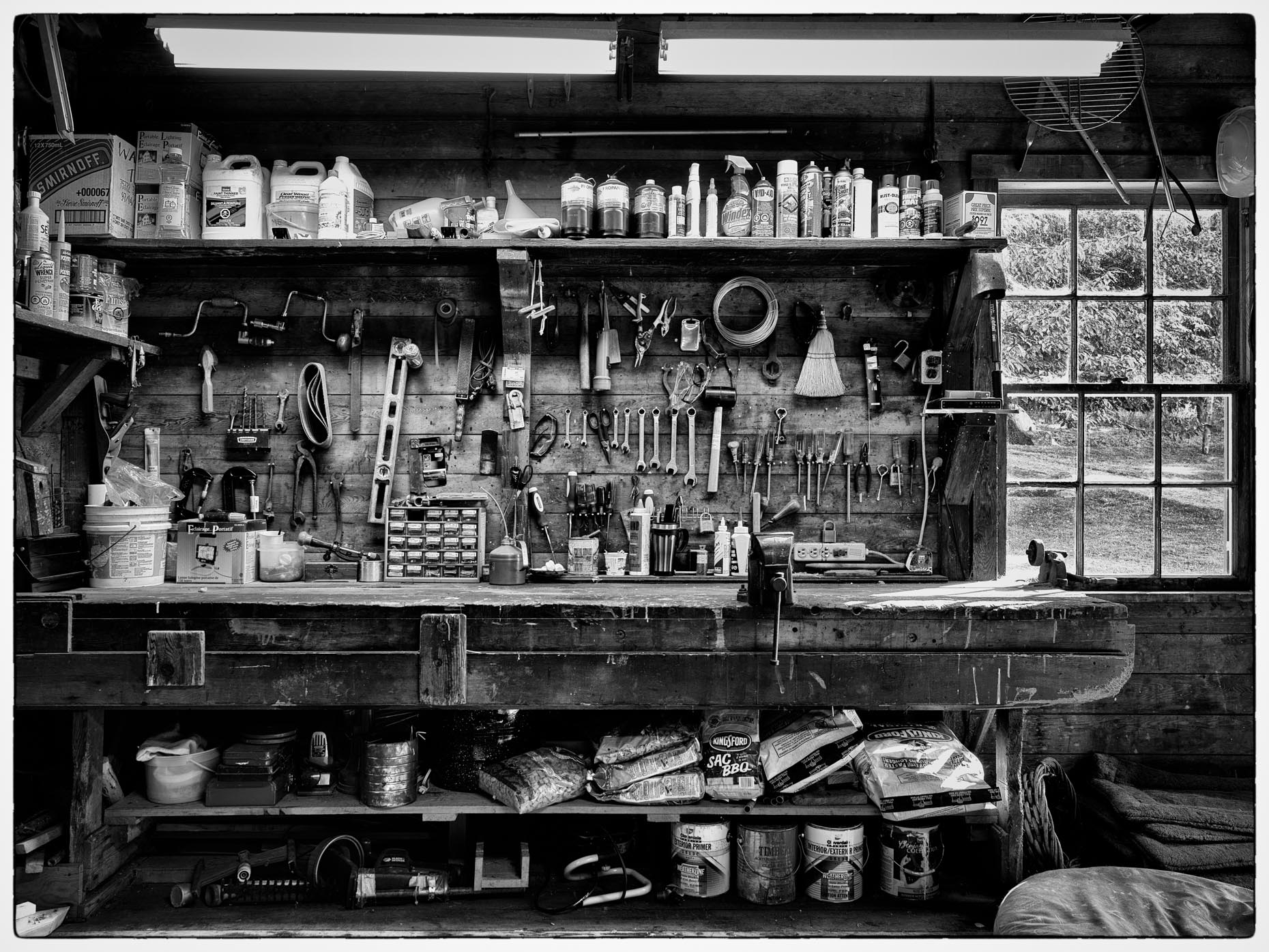 Interior of a workshop on Salt Spring Island, British Columbia, Canada.