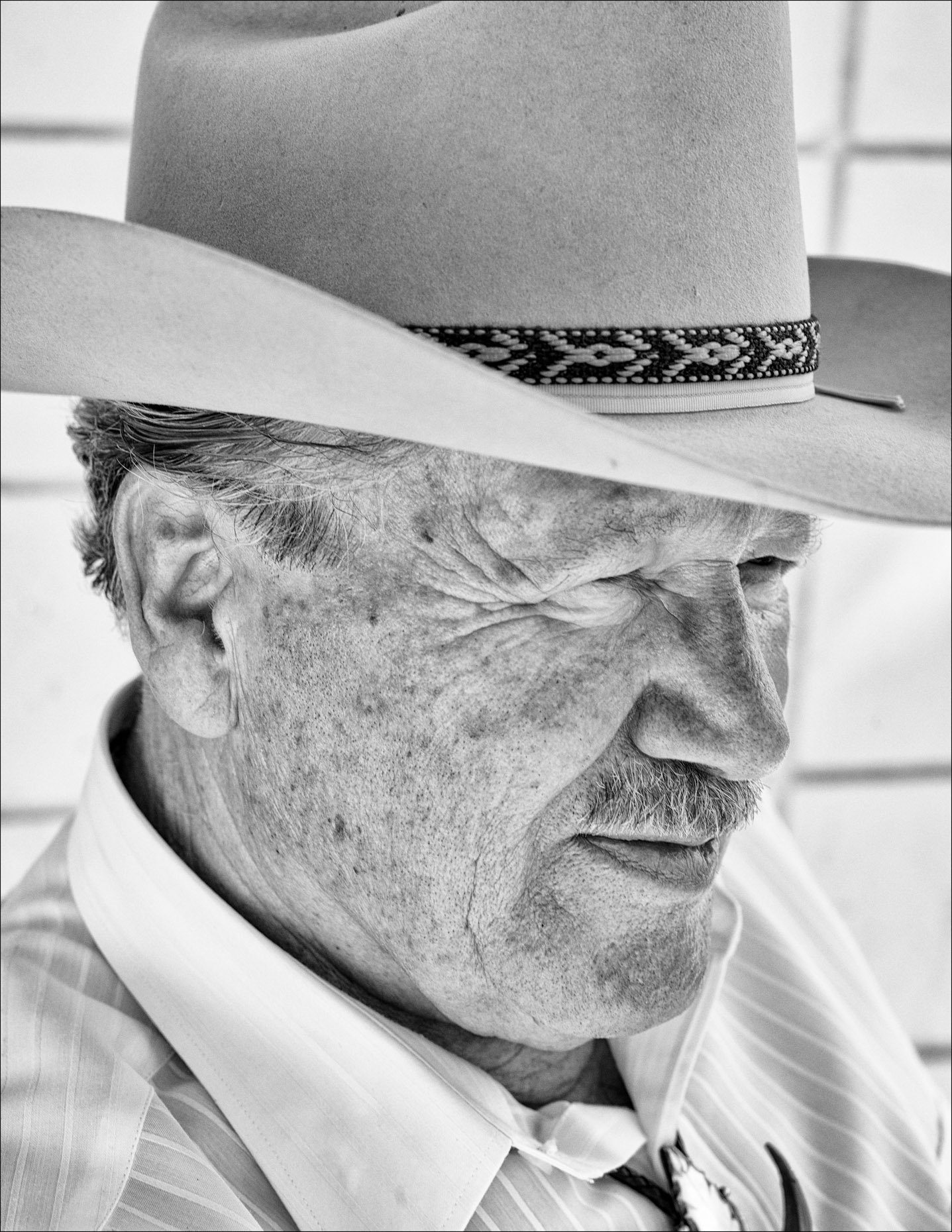 Senior Man with Cowboy Hat (Black and White) in Indio, CA.