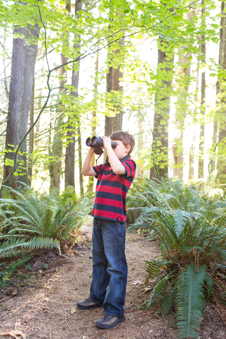 A young boy (8-12 years old) looks out with binoculars at Treehouse Point, Preston WA, USA.