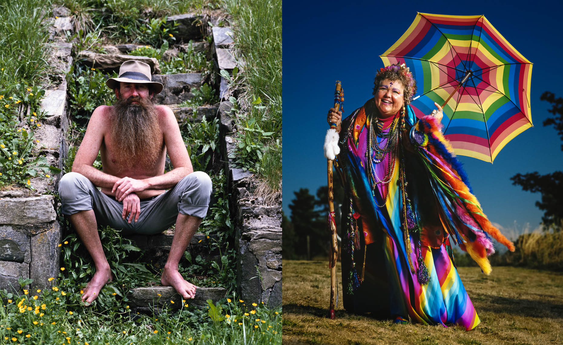 "A shirtless man with a long beard sits on some steps, and a woman know affectionately in Seattle, WA as ""The Rainbow Lady"""