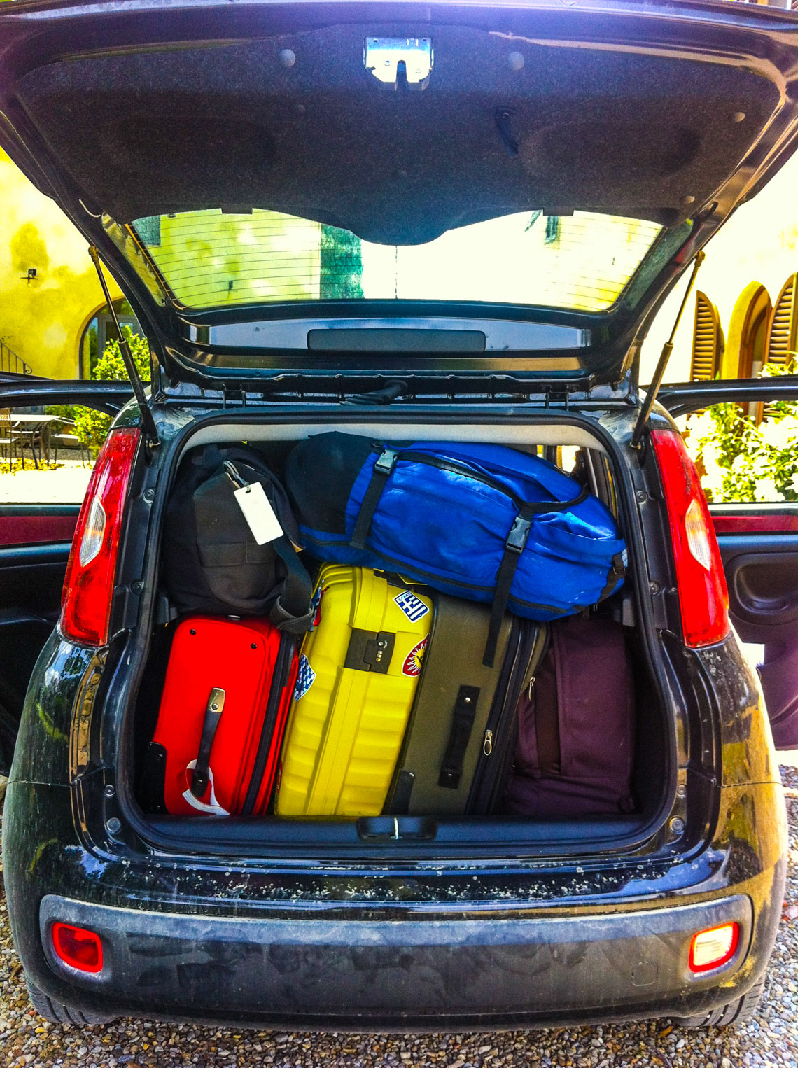Rear view of Car Loaded with Luggage