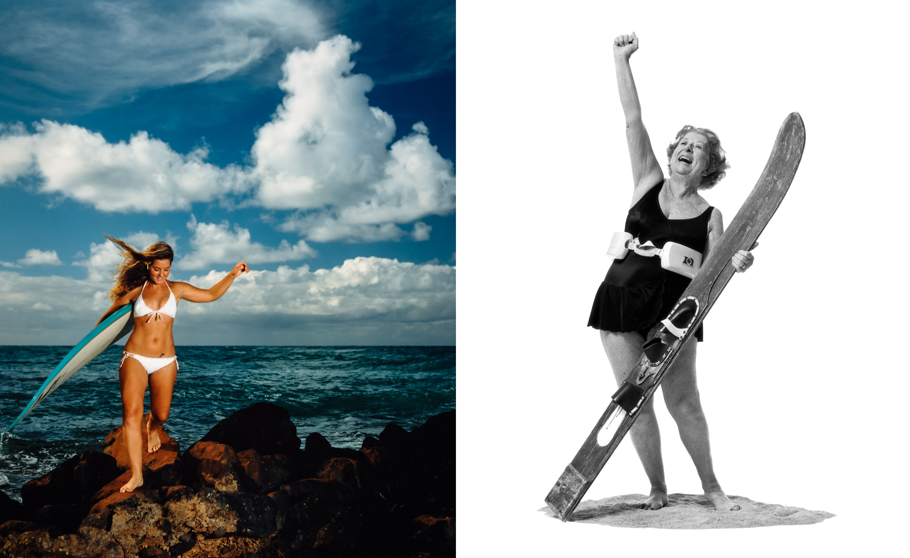 A young woman walks with her surfboard near the surf, and a senior woman stands exultant with her fist in the air  in studio with her feather glide waterski