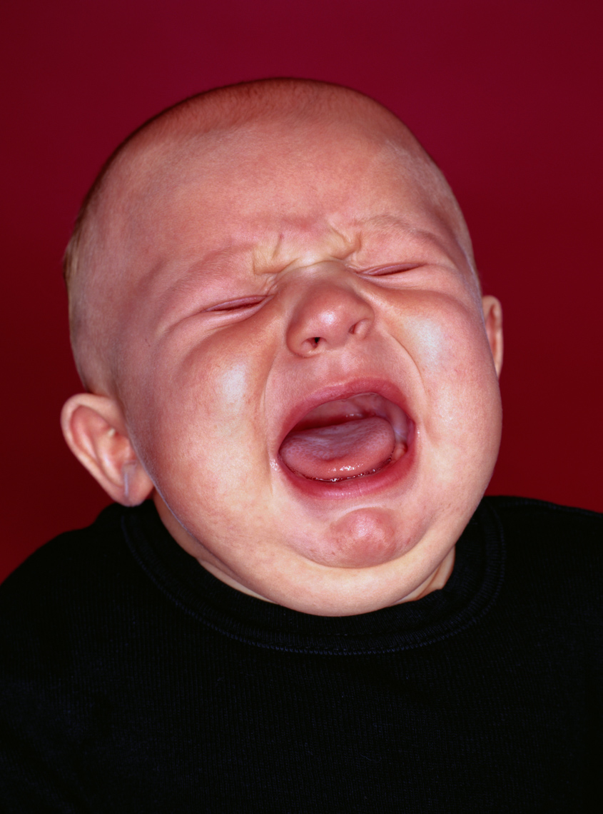 Close up of a crying baby
