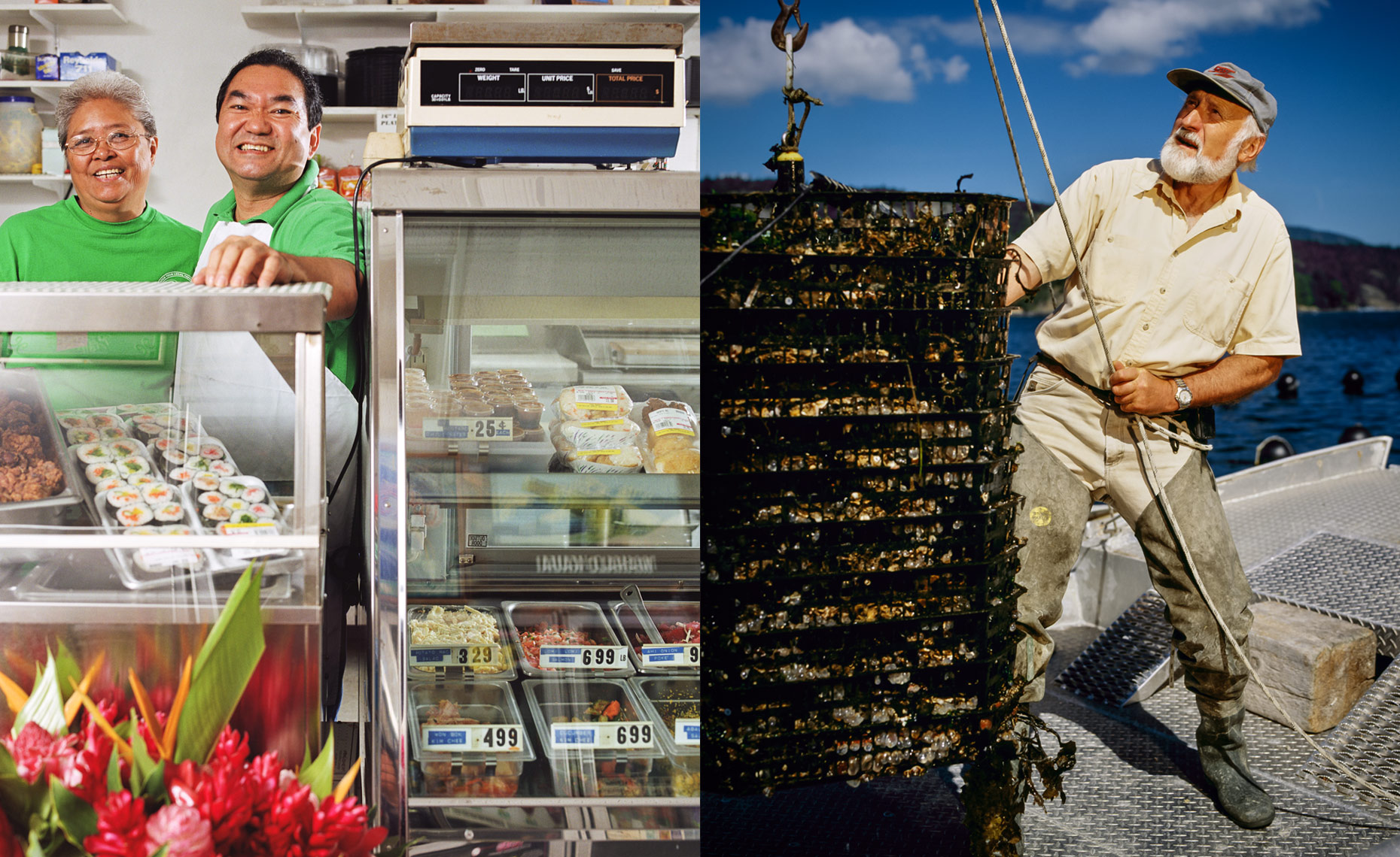 The Pono Market in Kapaa, Kauai, HI and an Oysterman fishing near Salt Spring Island in British Columbia, Canada.